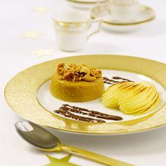 Amaretto-Pudding mit gratinierten Birnen