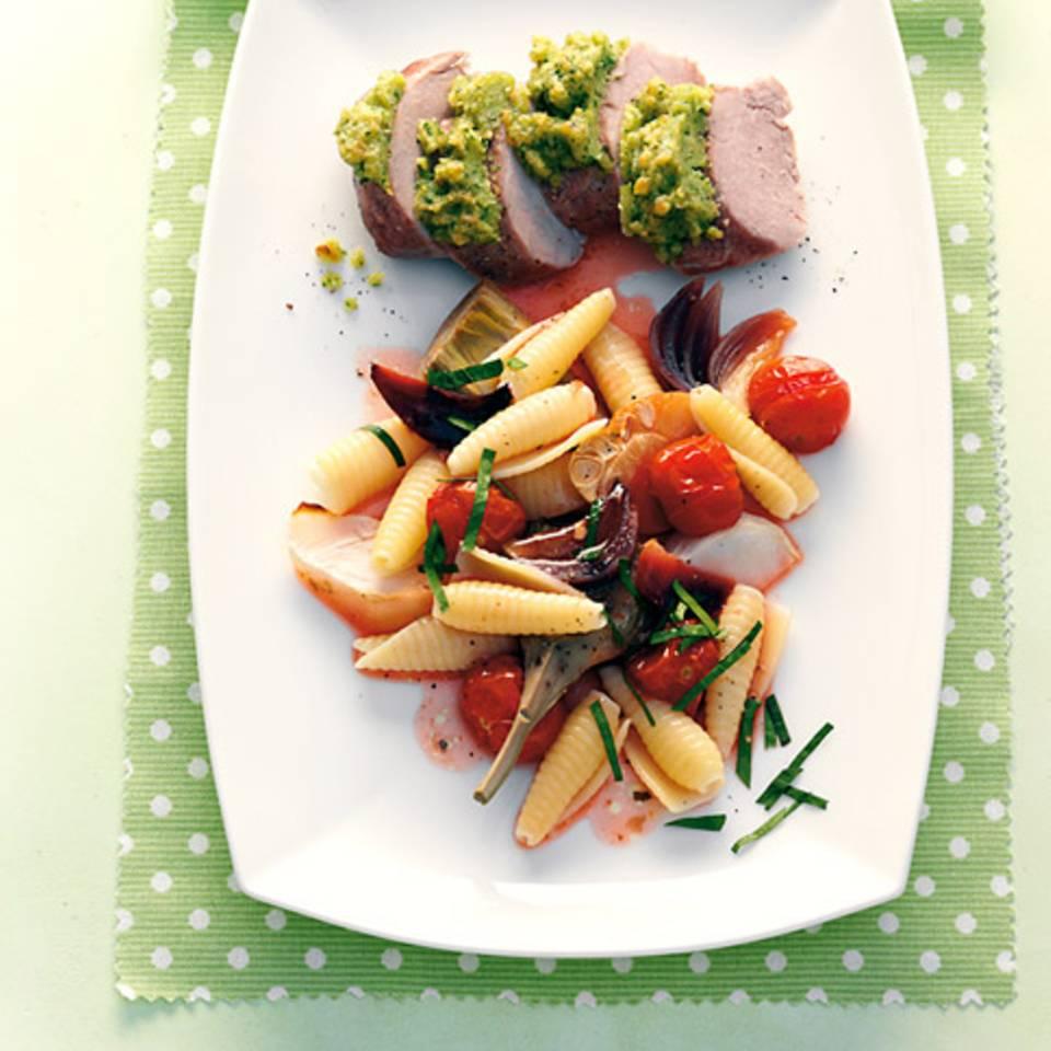 Gemüsepasta mit Schweinefilet Rezept