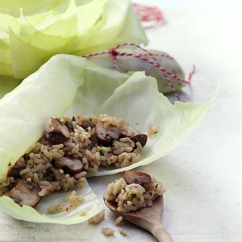 Kohlrouladen mit Risotto-Pilz-Füllung