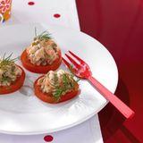 Linsen-Lachs-Tatar auf Tomaten