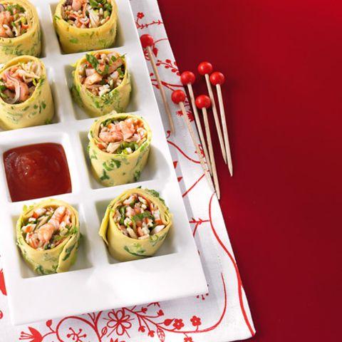 Asia-Pfannkuchenröllchen mit Surimisalat