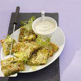 Curry-Grießschnitten mit Paprikaquark