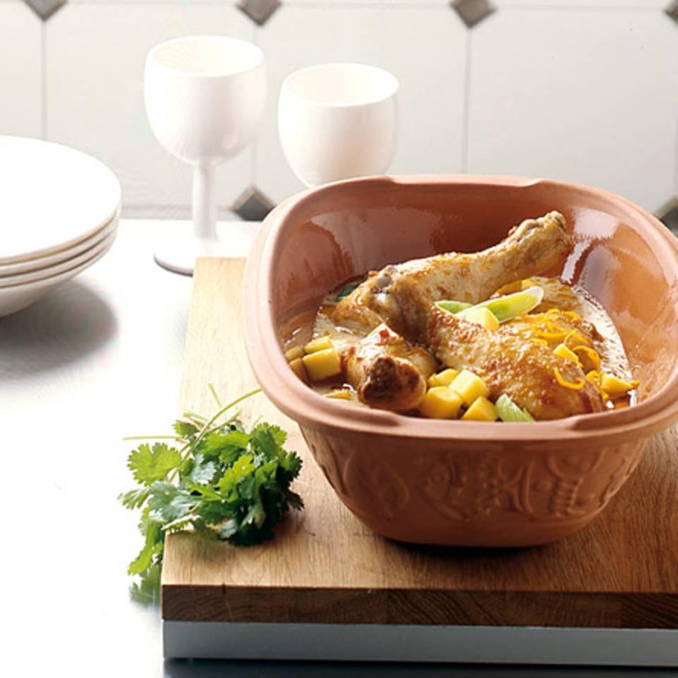 Hähnchenkeulen-Mango-Curry Rezept