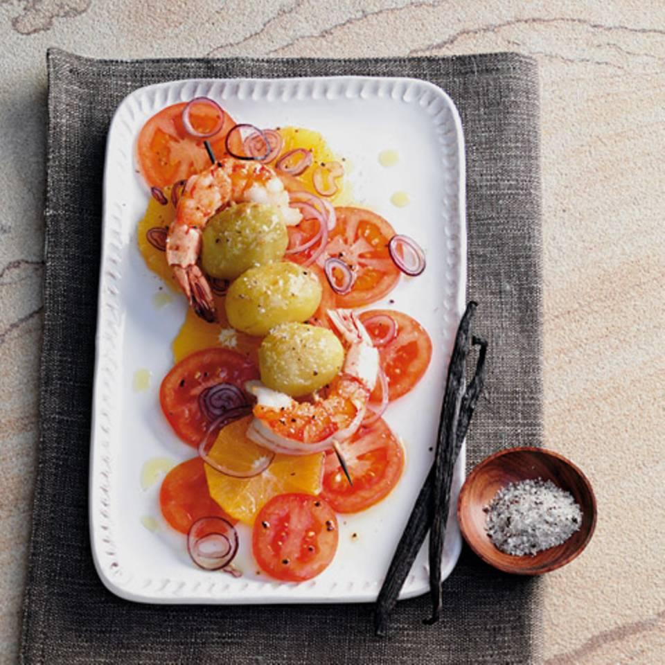 Garnelen-Kartoffel-Spieße mit Vanillesalz Rezept