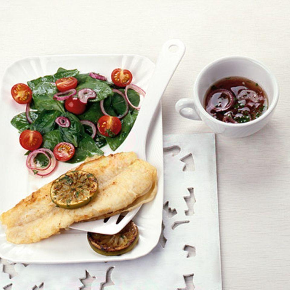 Fischfilet mit Spinatsalat