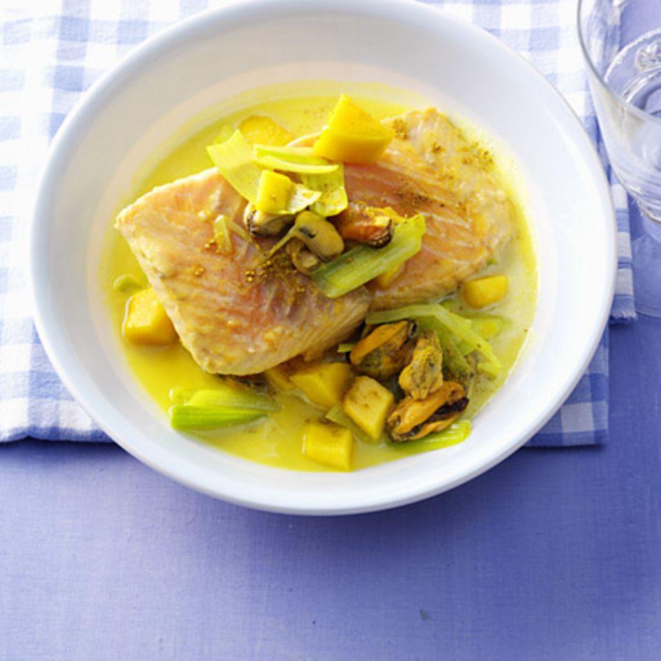 Lachs-Muschel-Curry