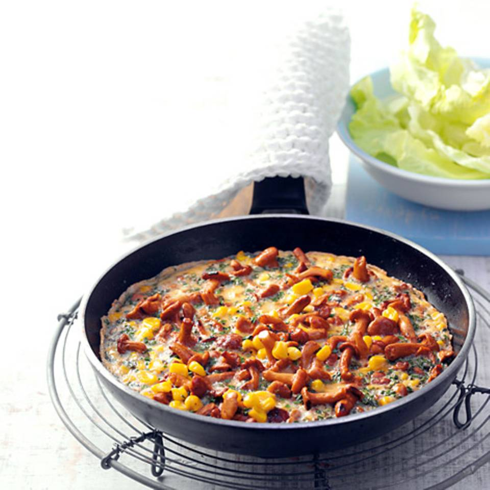 Pfifferling-Mais-Omelett Rezept