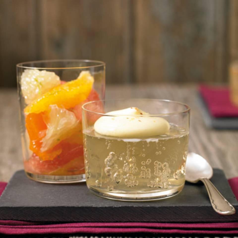 Champagner-Gelee mit Muskat-Sabayon Rezept