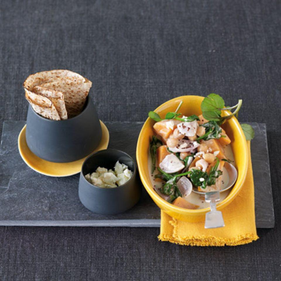 Grünes Veggie-Curry mit Chapati