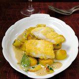 Lengfisch in Maiskruste mit Senfsauce