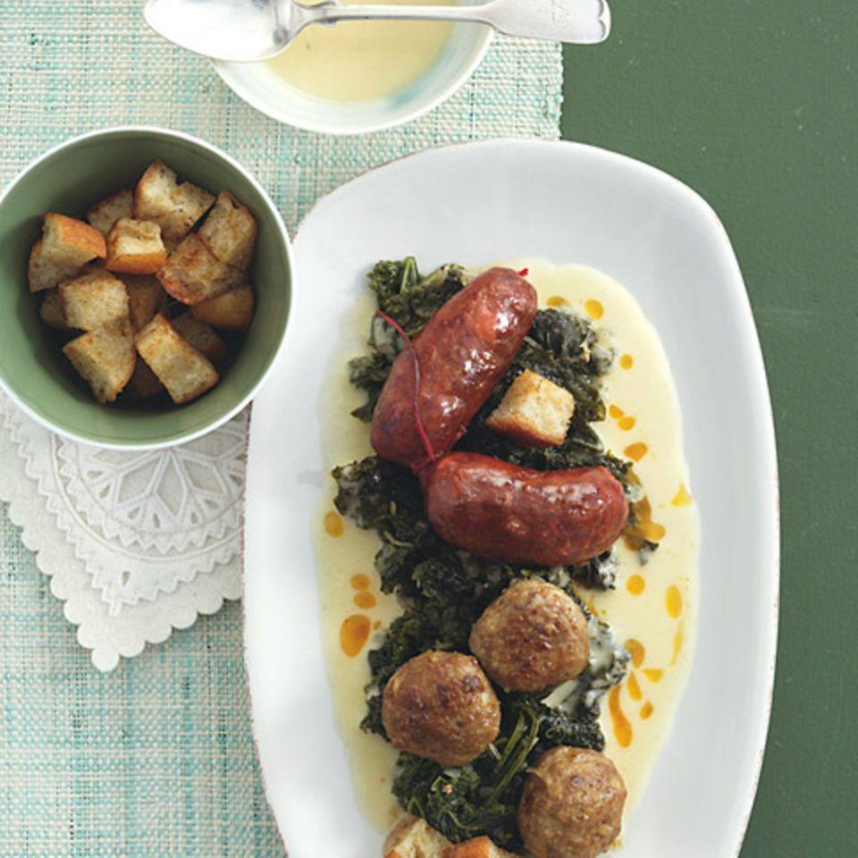 Grünkohl mit Chorizo und Kartoffelsauce