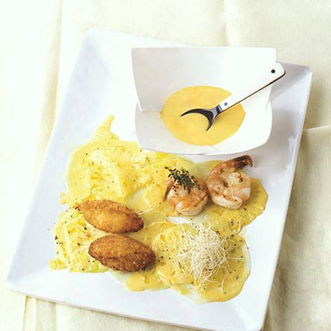 Ananas-Kohlrabi-Carpaccio mit Garnelen