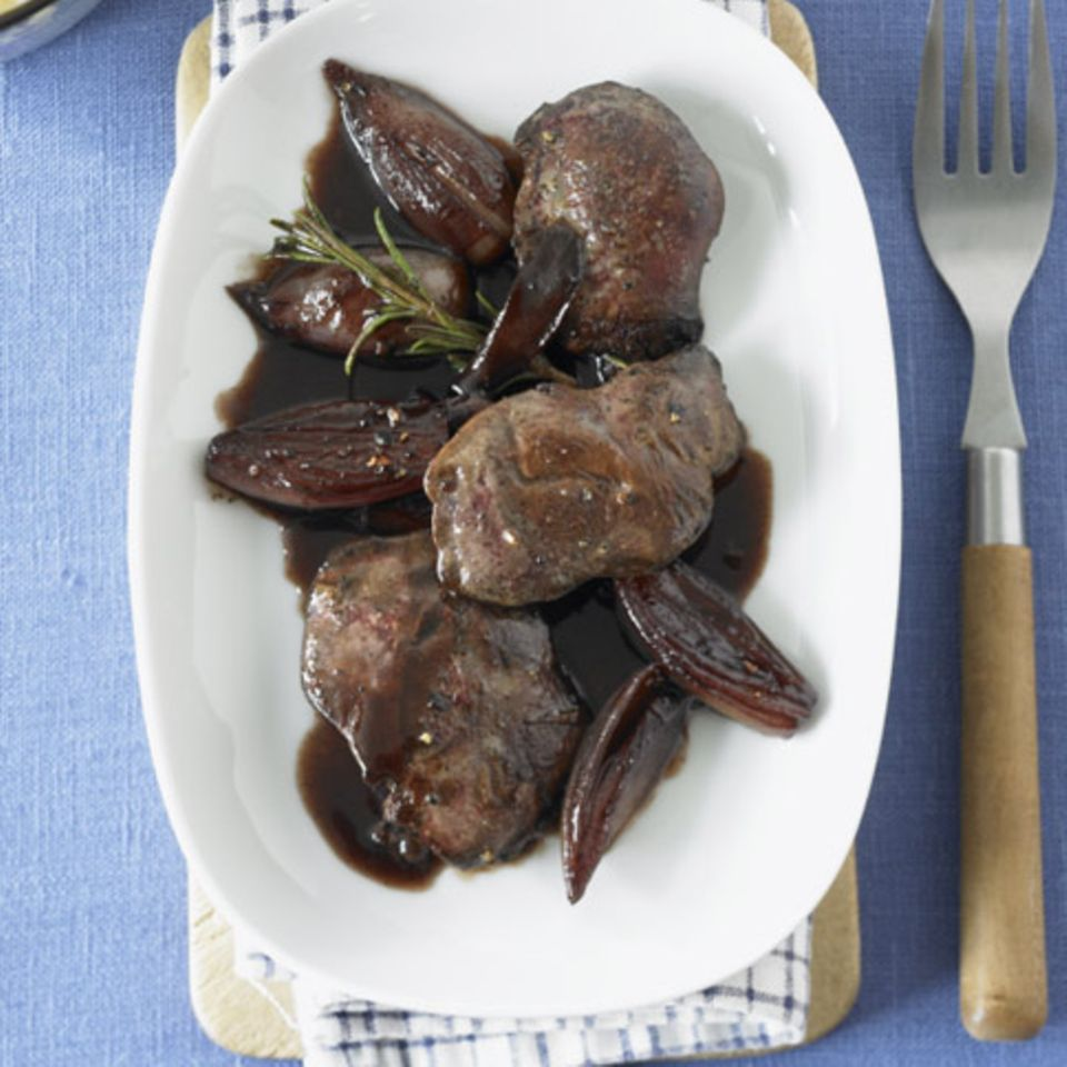 Geflügelleber in Rotweinsauce