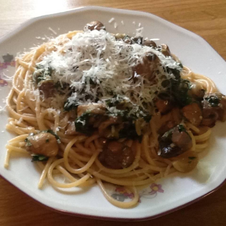 Spaghetti mit Champignons Rezept