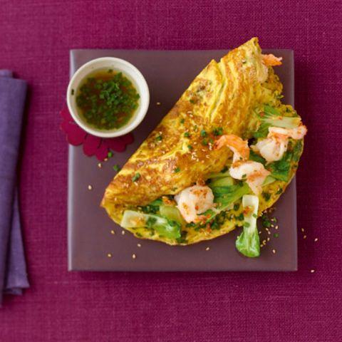 Sesam-Koriander-Omelette mit Garnelen