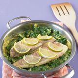 Kokos-Curry-Spinat mit Fisch