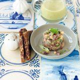Matjes-Melonen-Tatar mit Gurkensuppe