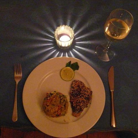 Sesamfisch mit Gemüserisotto