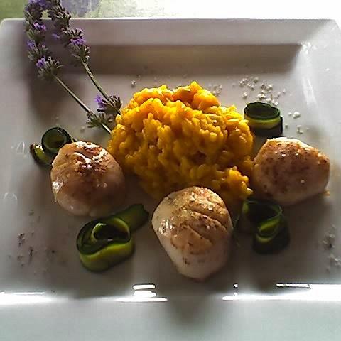 Jakobsmuscheln mit Lavendelsalz, Safranrisotto und Zucchinischleifen