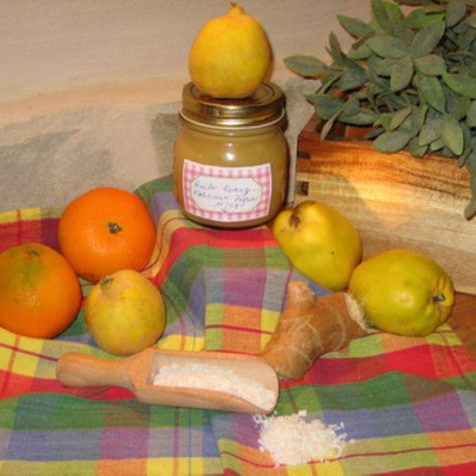 Quittenkonfitüre mit Orange und Kokosnuss