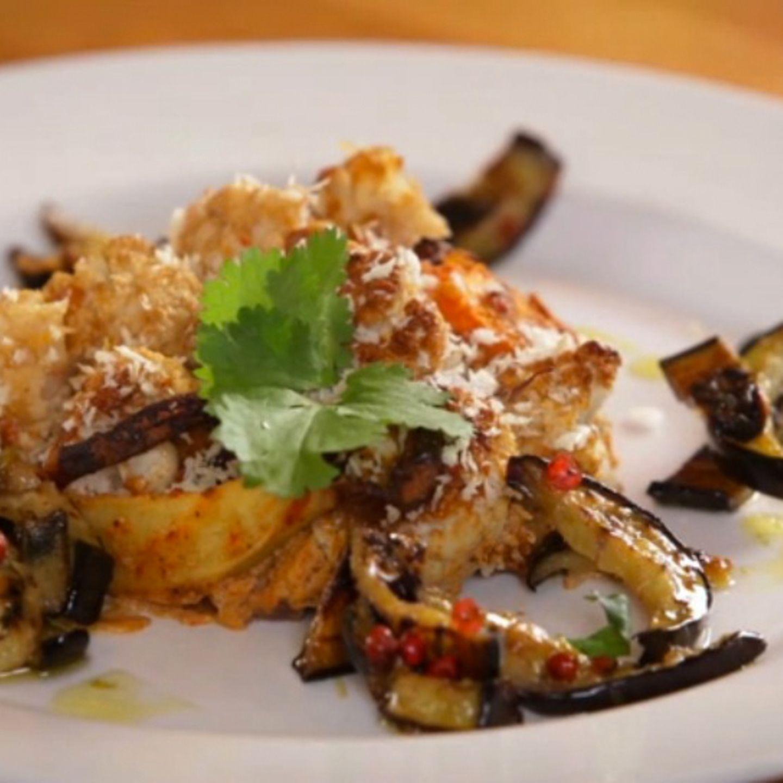 Rezept für Veganen Blumenkohlauflauf mit Auberginensalat von Nicole Just