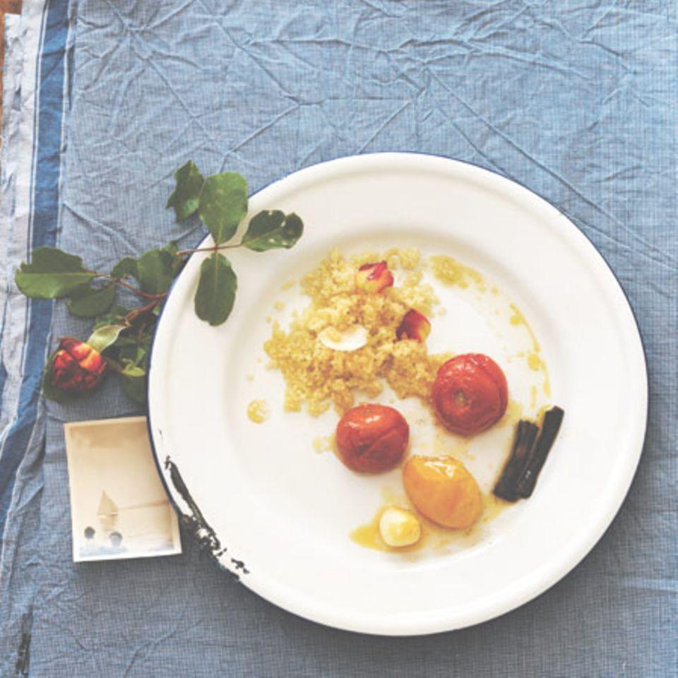 Wildrosenblätter-Tabouleh mit Vanilletomaten