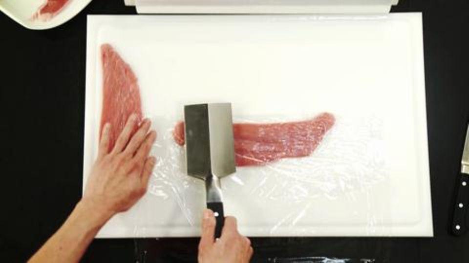 Kalbsfleisch plattieren