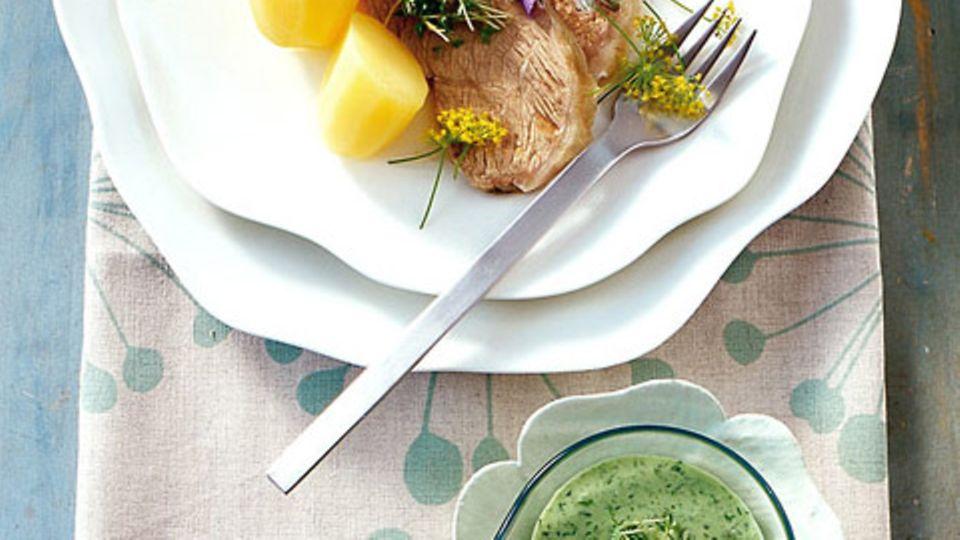 Kalbstafelspitz in Dillsud mit grüner Sauce