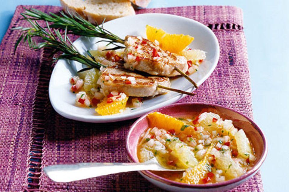 Kalbsfiletspieße mit Orangen-Vinaigrette