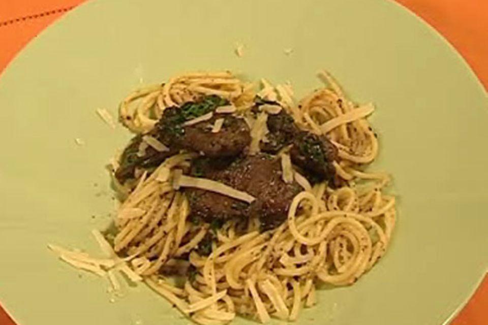Spaghetti mit Pilzbutter und Entenleber