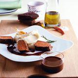 Lammrücken mit  Schoko-Olivenöl-Sauce