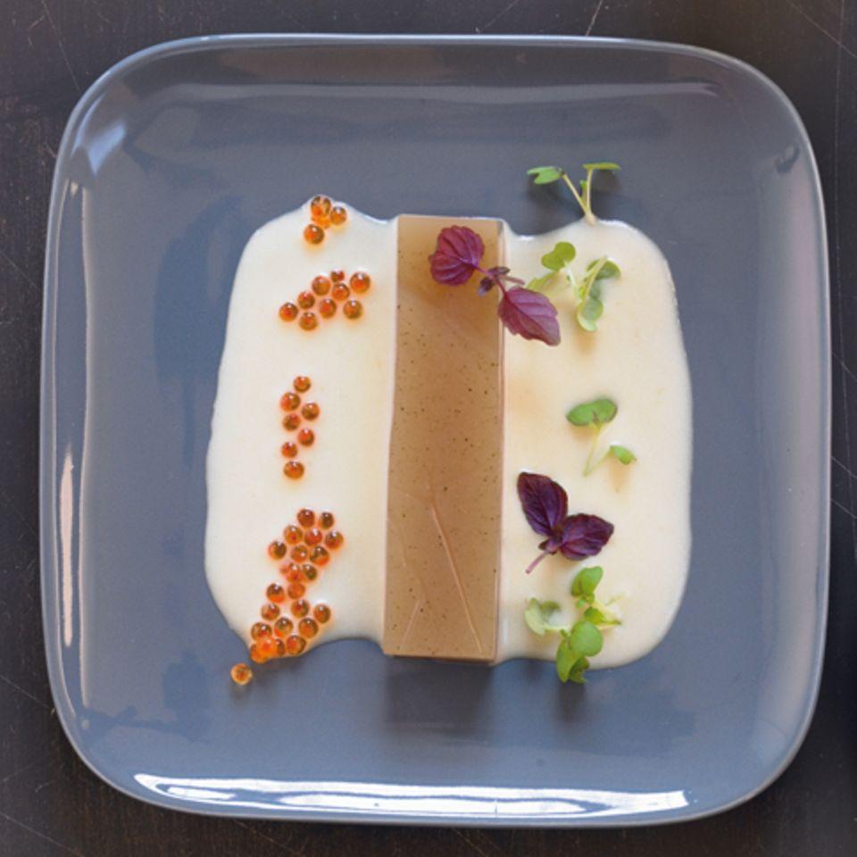 Grüntee-Gelee mit Kartoffelcreme