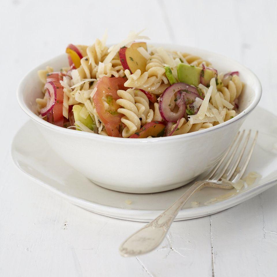 Pfirsich-Tomaten-Spiralen