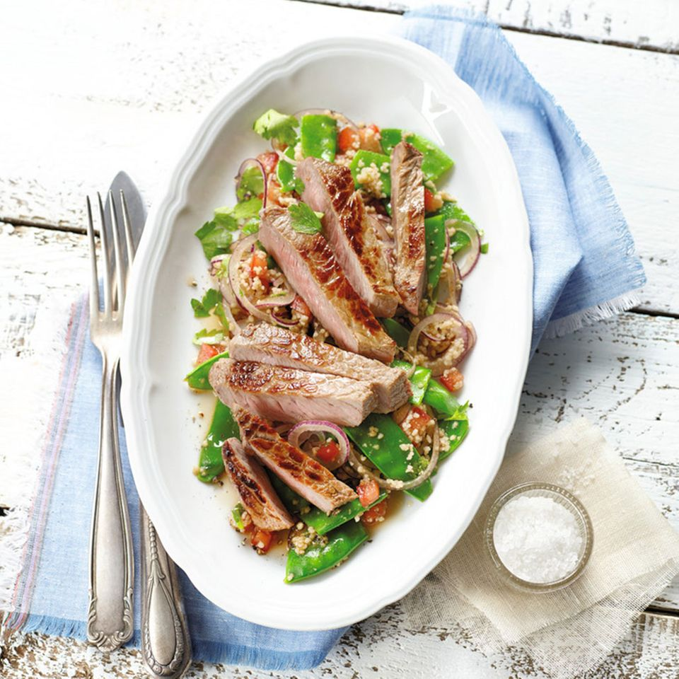 Rumpsteak mit Couscous-Salat