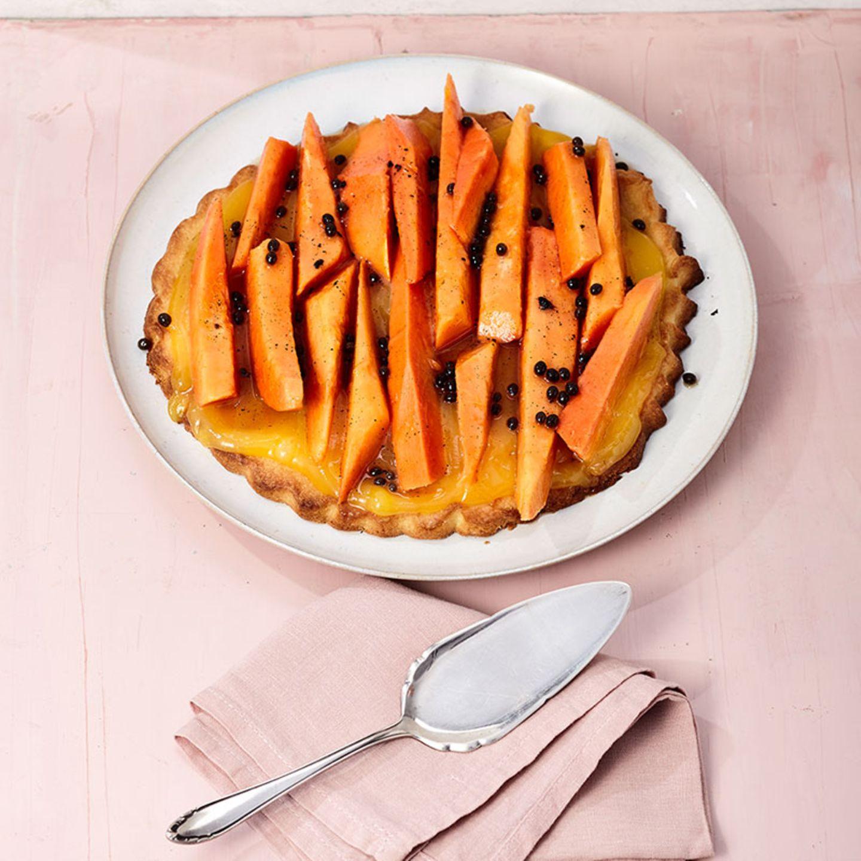 Papaya-Tarte mit Lemon Curd