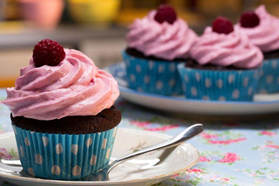 Schoko-küsst-Himbeer-Cupcakes