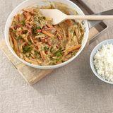 Gemüse-Mandel-Pfanne mit Reis