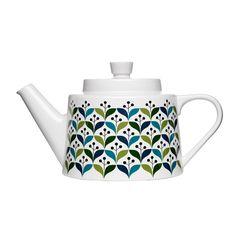 Mit Retro-Muster: Teekanne