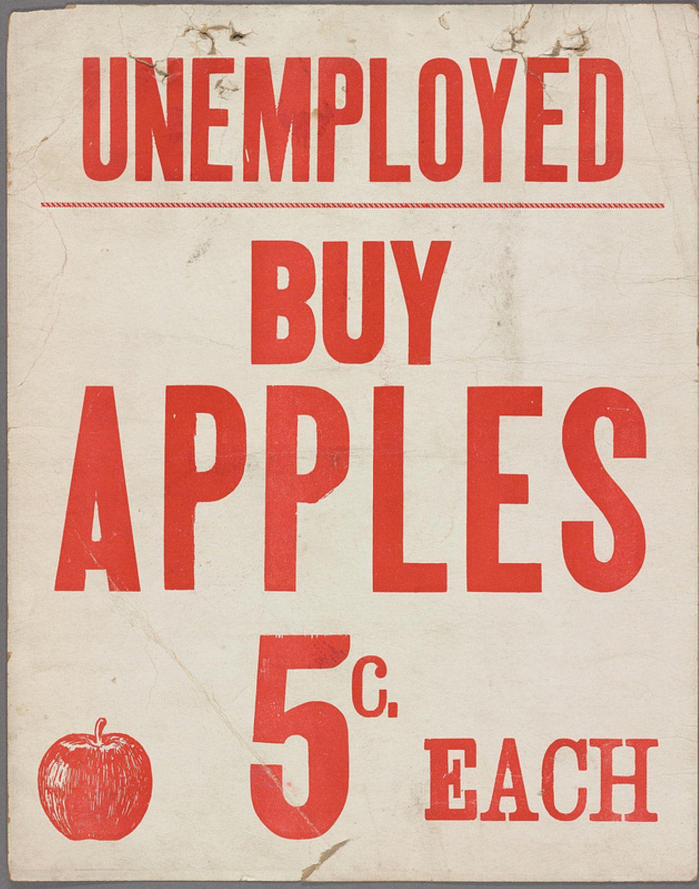 Werbeschild der Großen Depression 1930