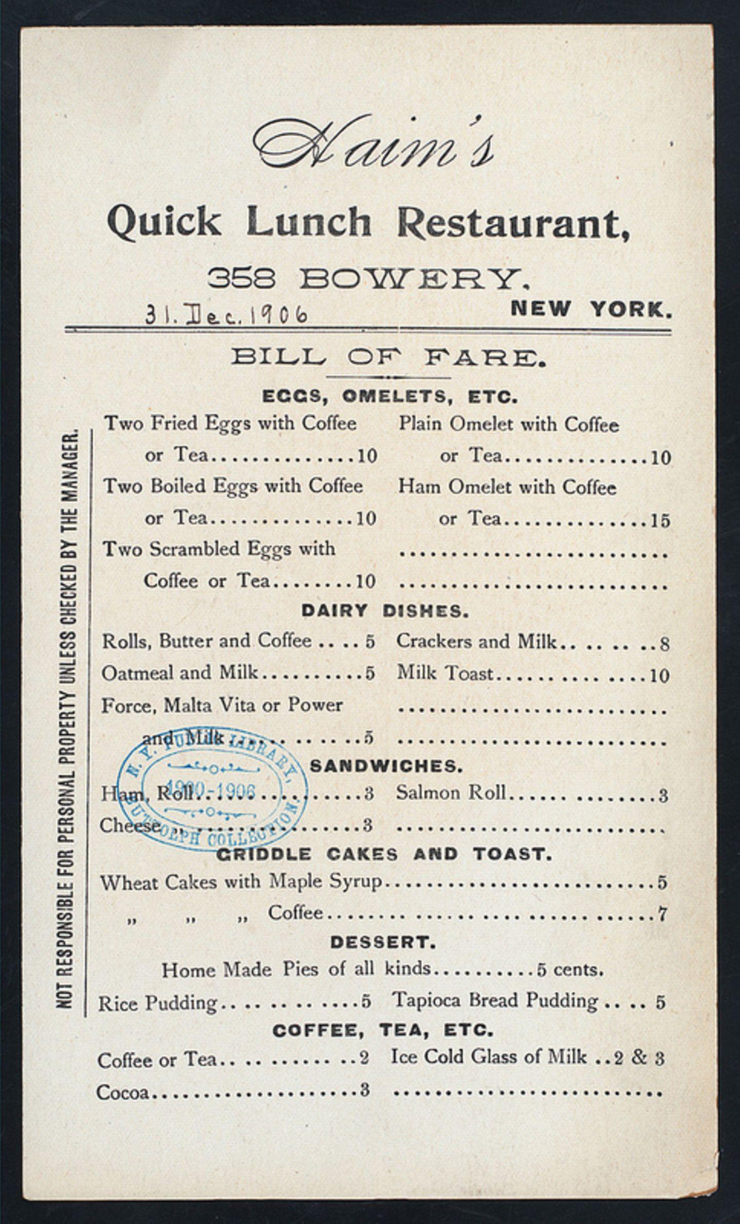 Speisekarte von 1906