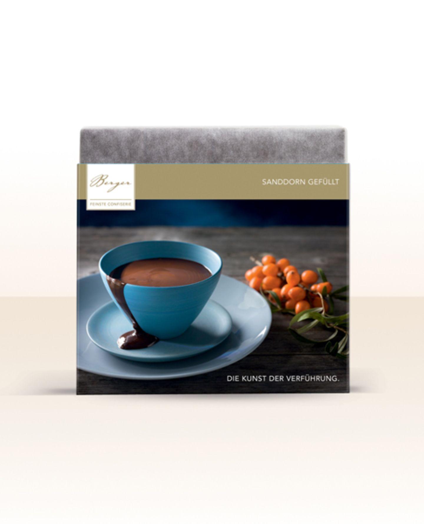 Berger Edlebitter-Schokolade mit Sanddorn-Füllung