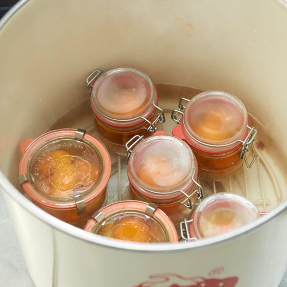 Aprikosen werden hier eingekocht, bzw. eingeweckt.