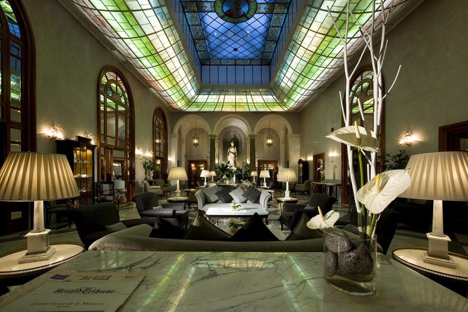 Die Lobby des Grand Hotel de la Minerve
