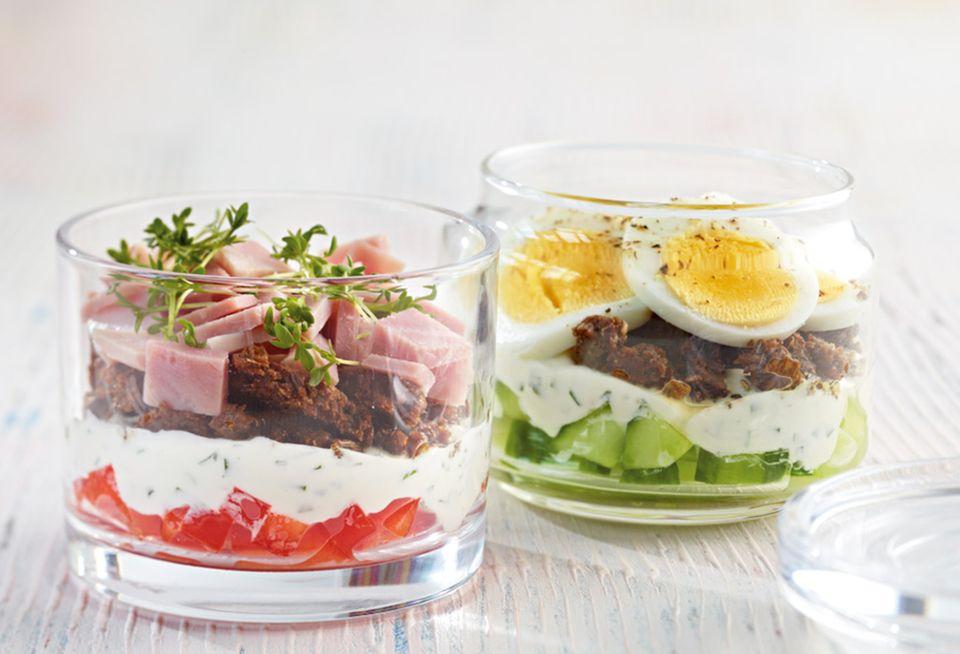 Sandwich mal anders: geschichtet im Glas kommen die einzelnen Bestandteile optimal zur Geltung