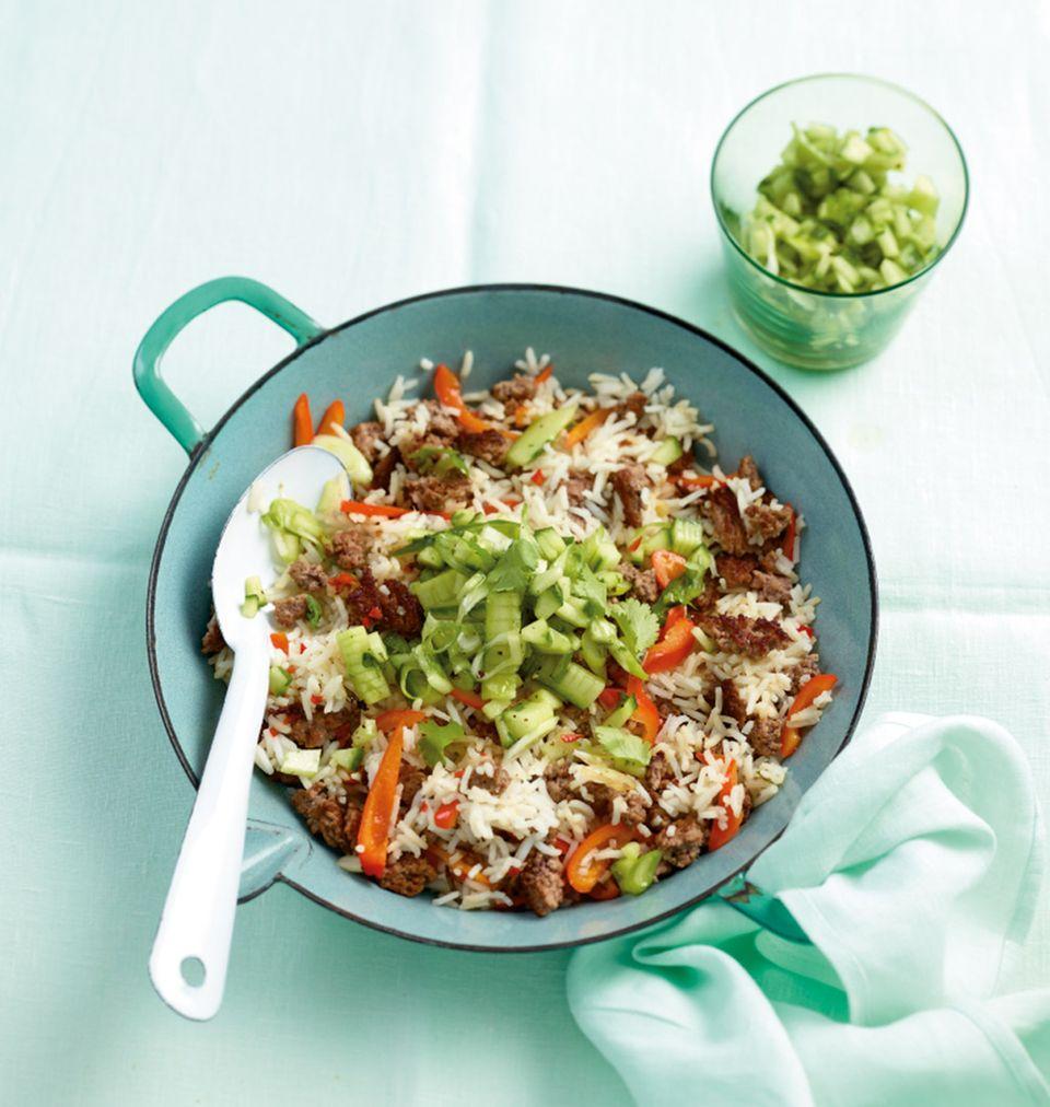 Köstliche Hack-Reis-Pfanne