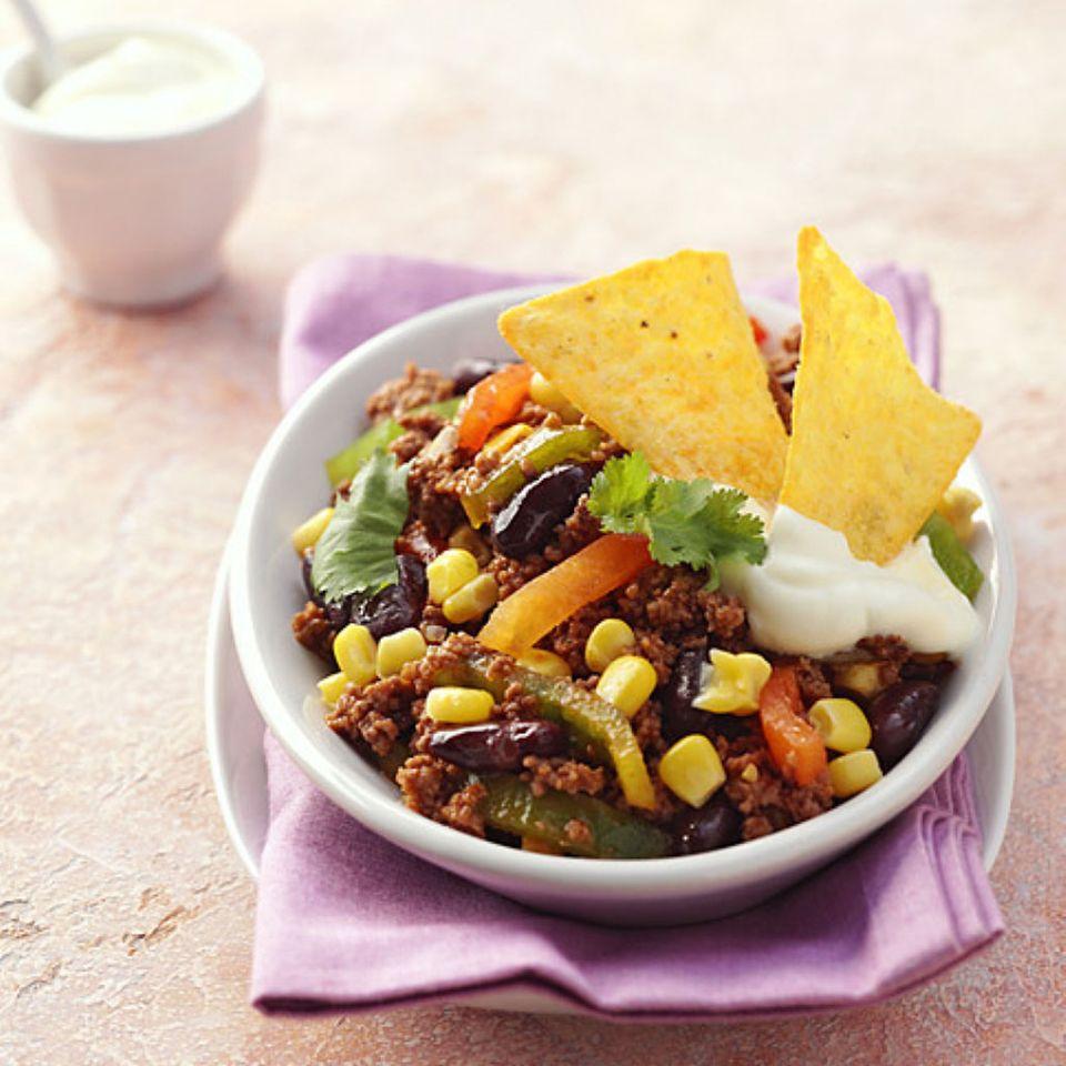 Chili con carne ist ein typisches Tex-Mex-Essen