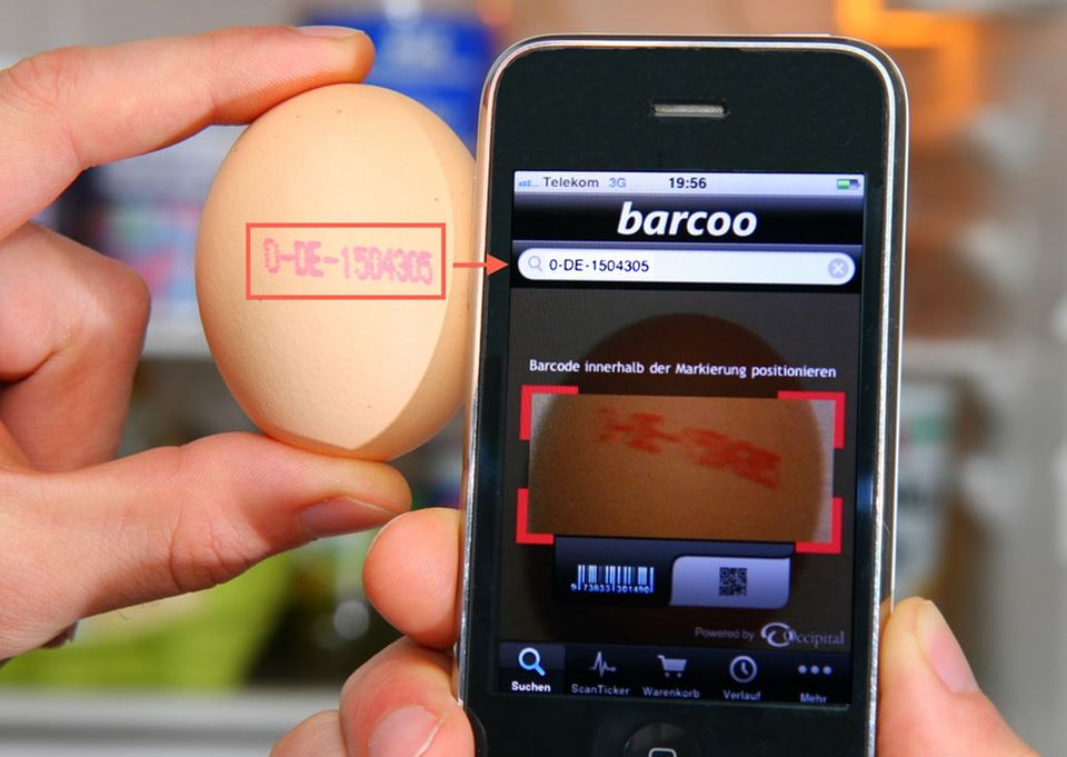 """Über die Eingabe der Erzeugercodes soll die Smartphone App """"Barcoo"""" dioxinverseuchte Eier identifizieren"""