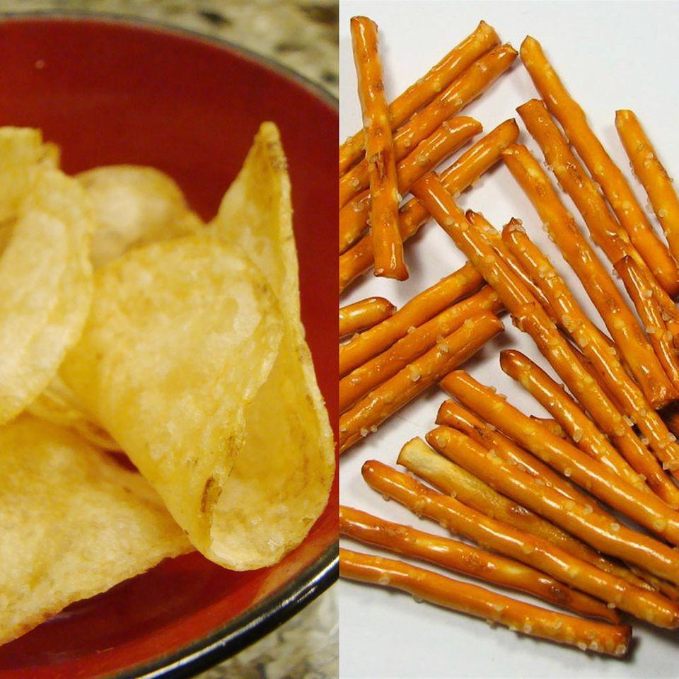 Gegenüber Chips kann man mit Salzstangen viele Kalorien sparen