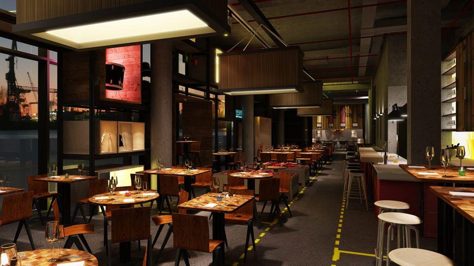 Das Restaurant HEIMAT Küche + Bar liegt direkt am Hamburger Hafen