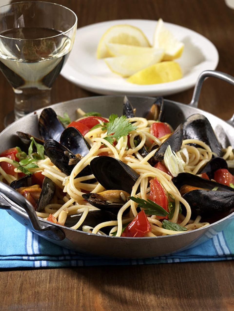 Haricot de mer passt gut zu Spaghetti mit Meeresfrüchten
